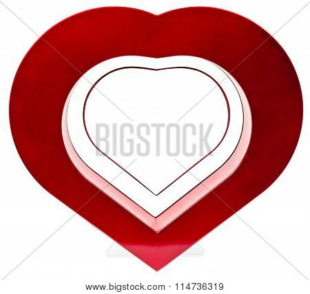 Red heart photo frame, standing straight on isolaed white background