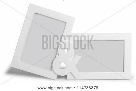 White photo frame  standing straight on isolaed  background