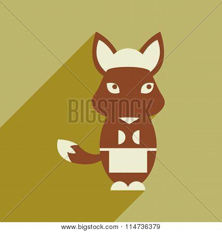 flat icon with long shadow fox cartoon