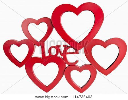 Red hearts photo frame, standing straight on isolaed white background