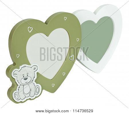 Baby photo frame hearts on isolaed white background