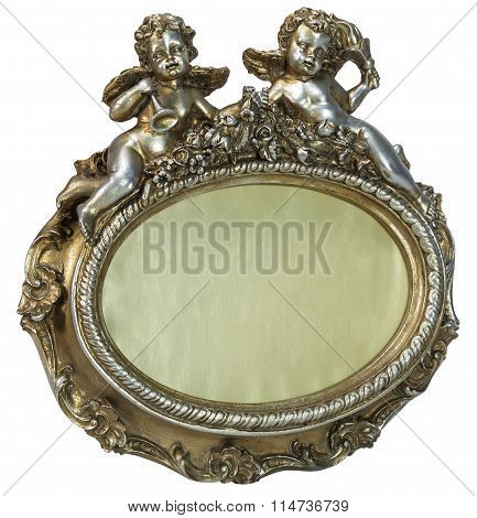 Oval baroque gold fhoto frame with cupid on isolated background