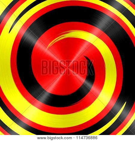 Abstract Gold Black Red Spiral Stainless Steel Background
