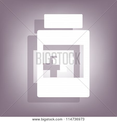 Medical container icon with shadow