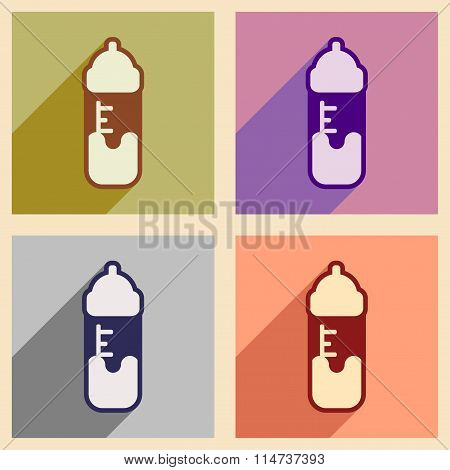 Modern flat icons collection with long shadow baby bottle