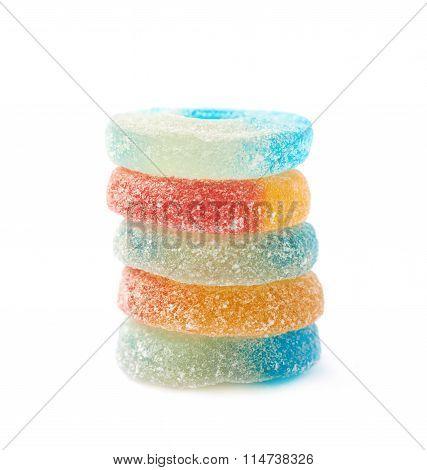 Torus shaped gelatin candy isolated