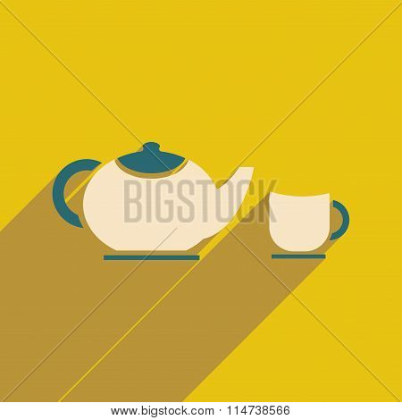 flat icon with long shadow kettle cup