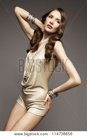 Brunette model posing in studio