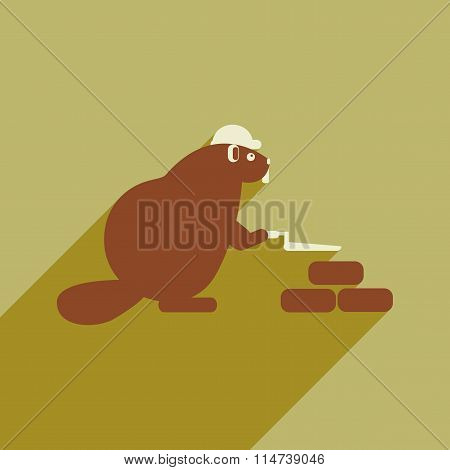 flat icon with long shadow beaver builder