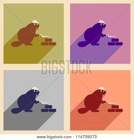 Set of flat icons with long shadow beaver builder