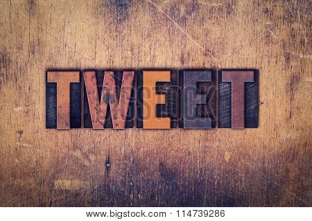 Tweet Concept Wooden Letterpress Type