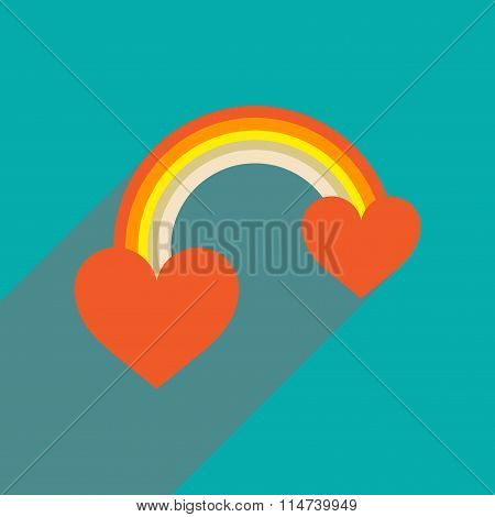 Flat web icon with long shadow rainbow heart