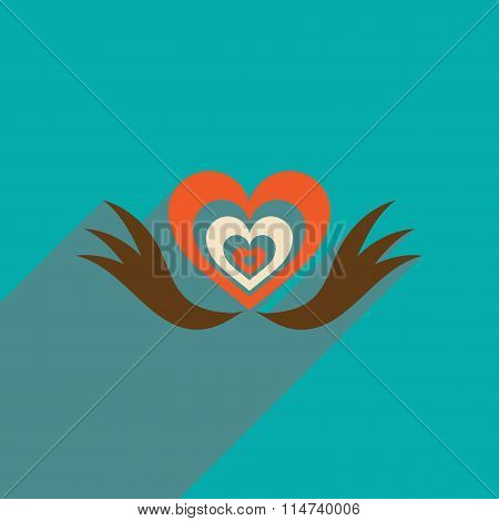 Flat web icon with long shadow heart wings