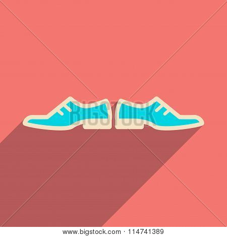 Flat web icon with long shadow male shoes