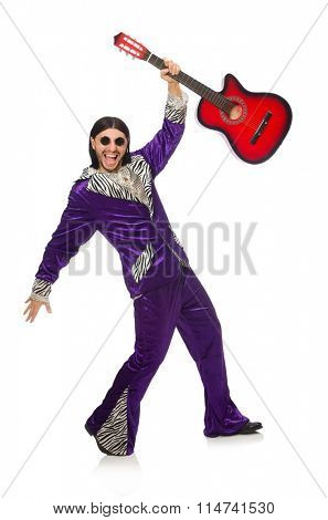 Man in funny clothing holding guitar isolated on white