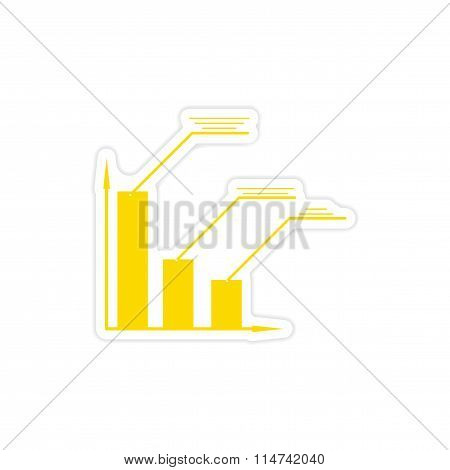 stylish sticker on paper economic graph on white background