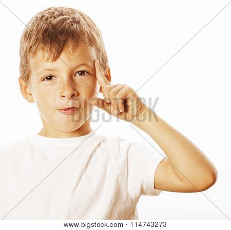 litlle cute blond boy tired sad isolated on white close up thinking, looking like having idea