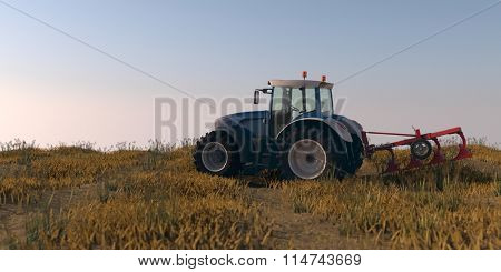 general tractor with plow