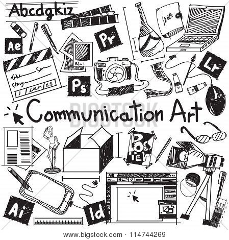 Communication Art Media University Faculty Major Doodle Sign And Symbol Icon Tool In White Isolated