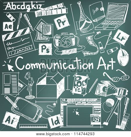 Communication Art Media University Faculty Major Doodle Sign And Symbol Icon Tool In Blackboard Back