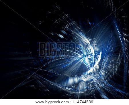 Computer graphics abstract blue background.
