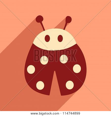 Flat icon with long shadow lady bug