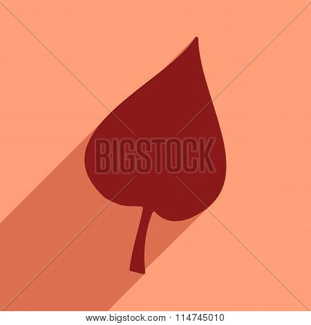 Flat icon with long shadow tree leave