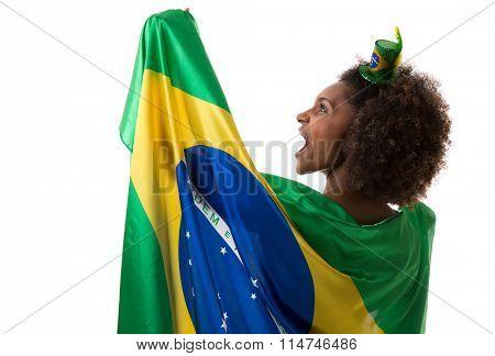Brazilian woman holding the brazilian flag