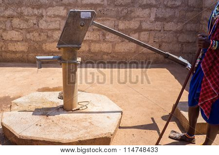 Donated water well in Maasai village