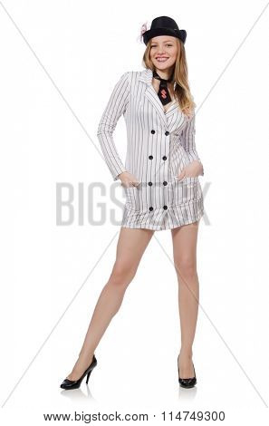 Beautiful girl in striped clothing isolated on white