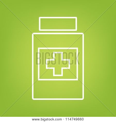 Medical container line icon