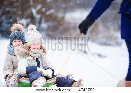 Little girls enjoy a sleigh ride. Child sledding. Children play outdoors in snow. Family vacation on