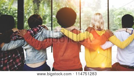 Diverse People Friendship Togetherness Connection Rear View Concept