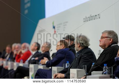 ST. PETERSBURG, RUSSIA - DECEMBER 16, 2015: Final plenary session of 4th St. Petersburg International Cultural Forum in the General Staff building. The forum include more than 150 events