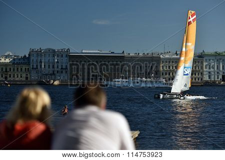 ST. PETERSBURG, RUSSIA - AUGUST 23, 2015: Catamaran of SAP Extreme Sailing Team of Denmark during the last day of St. Petersburg stage of Extreme Sailing Series