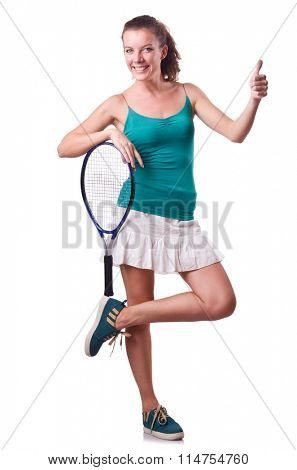 Woman tennis player isolated on white