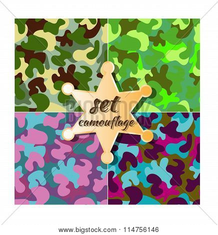 vector colorful camouflage seamless pattern set