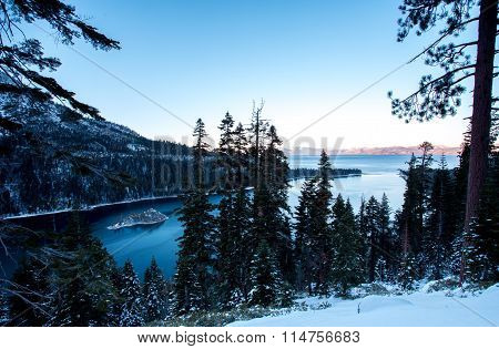 Emerald Bay With Winter Snow