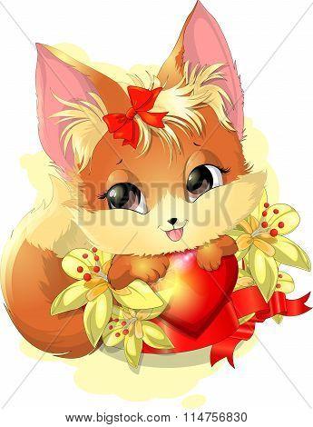beautiful fox among the flowers