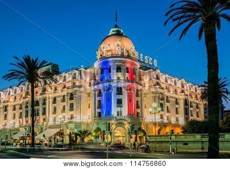 NICE - JULY 5: Negresco Hotel in Nice on July 5, 2013 in Nice.