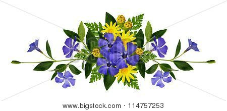 Periwinkle and daisy flowers composition isolated on white