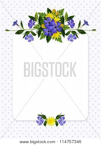 Periwinkle And Daisy Flowers Composition And A Card
