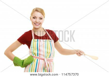 Housewife Or Cook Chef In Kitchen Apron With Spoon