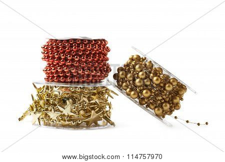 Pile of garland reels isolated