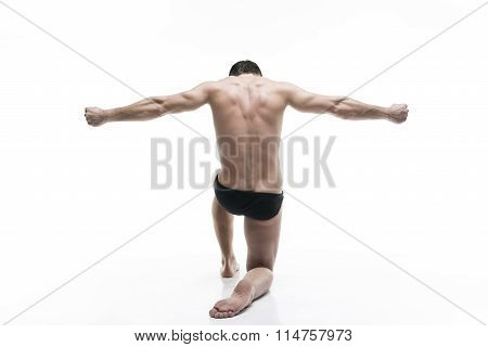 Handsome Muscular Bodybuilder Posing On White Background. Isolated Studio Shot