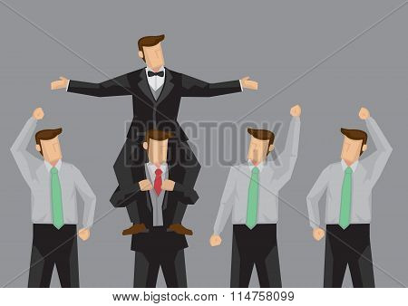 Popular Man And Supporters Cartoon Vector Illustration