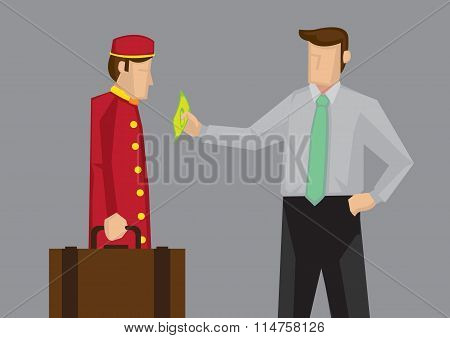 Tipping For Service In Hospitality Industry Vector Cartoon Illustration