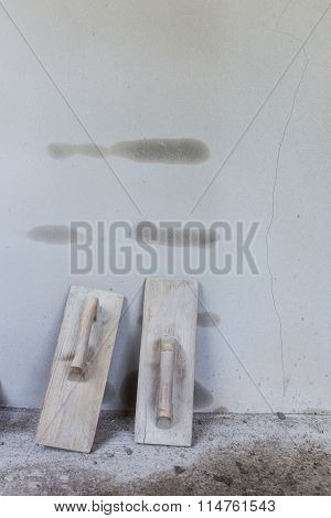 Wood Trowel And Cement Wall In Construction Site, Trowel Handheld Tool Used Spread Mortar Or Plaster