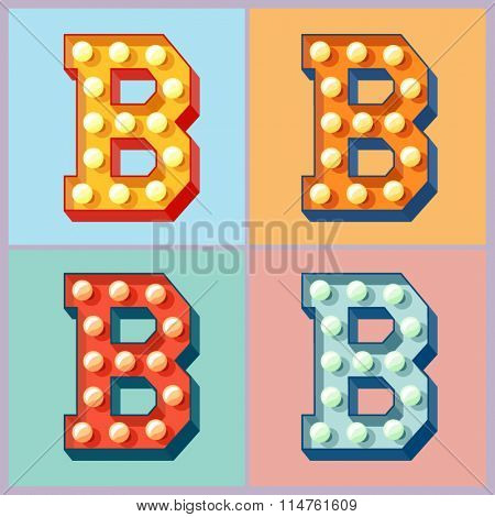Vector  light up colorful flat lamp alphabet. Letter B