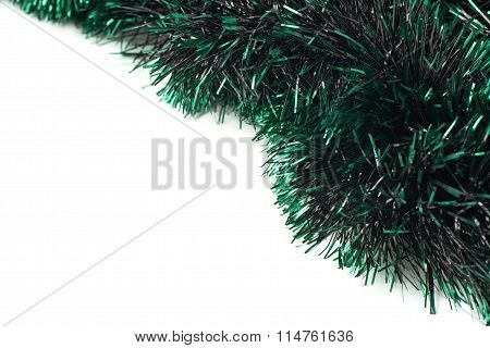 Tinsel garland background composition